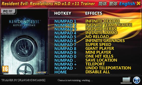 Resident Evil: Revelations +11 Trainer [FliNG]
